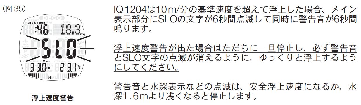 浮上速度と警告 TUSA IQ-1204